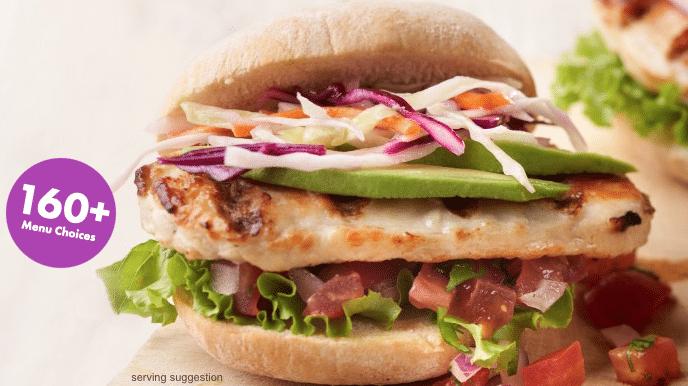 a nutrisystem chicken sandwich with fresh veggies