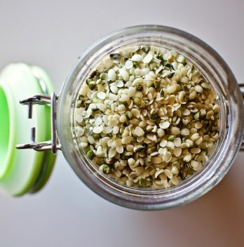 a jar of hemp seeds