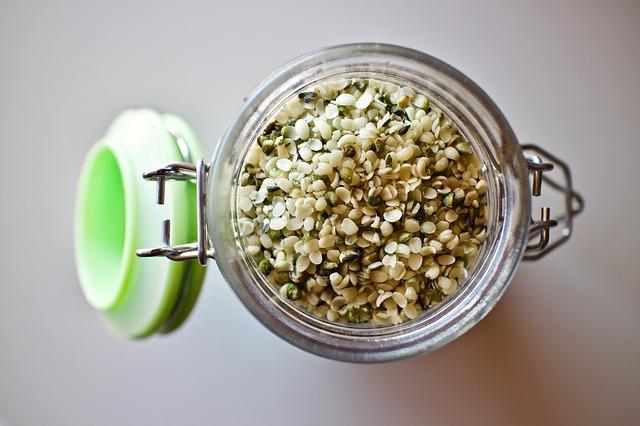 a jar of hemp seeds