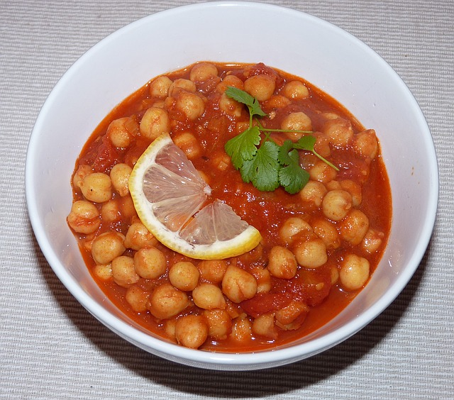 a bowl of chickpea stew