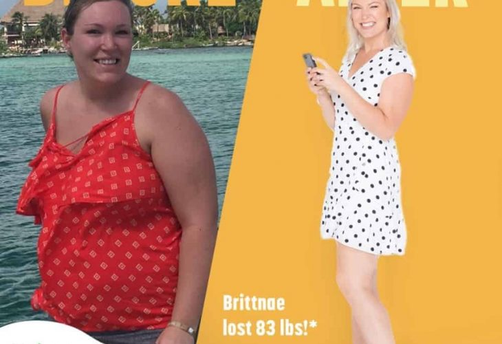 a woman shows off her weight loss results after using the Nutrisystem diet