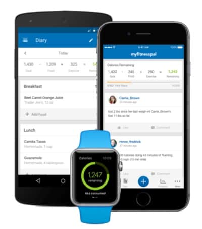 the MyFitnessPal app on phones and an Apple Watch